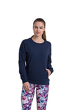 Zakti Womens Time For Tee Soft Sweatshirt w/ Antibacterial Fabrics & Relaxed Fit - Blue & Black