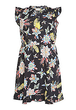 Junarose Floral Ruffle Cap Sleeve Plus Size Dress - Multi