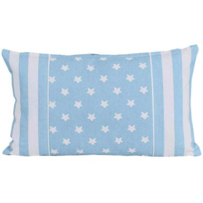 Homescapes Cotton Blue Stripe Border and Stars Cushion Cover, 30 x 50 cm