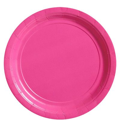 Hot Bright Pink Paper Plates 22.8cm - 50 Pack