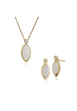 Gemondo 9ct Yellow Gold Opal & Diamond Stud Earring & 45cm Necklace Set