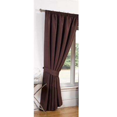 Dreamscene Luxury Faux Silk Blackout Curtains Including Tiebacks - Chocolate 66