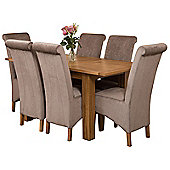 Hampton Extending Kitchen Solid Oak Dining Set Table + 6 Grey Fabric Chairs