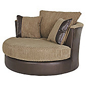 Kendal Jumbo Cord Swivel Chair, Taupe