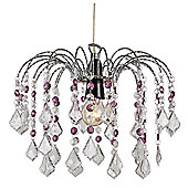 Crystal Effect Pendant Shade with Clear and Purple Acrylic Crystals