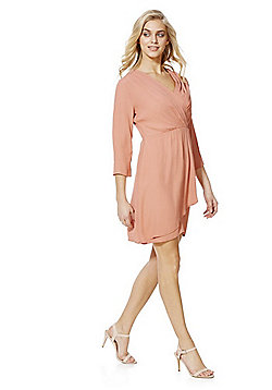 Vila Wrap Front Dress - Peach