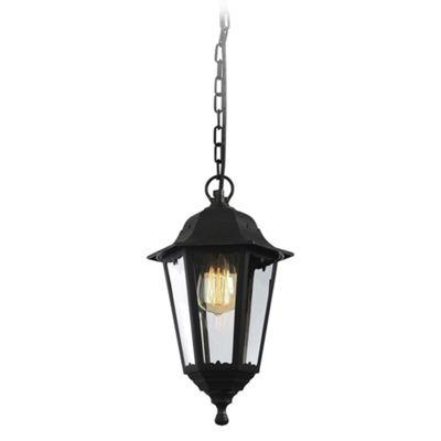 Litecraft Terrance 1 Bulb Outdoor 6 Panel Hanging Lantern, Black