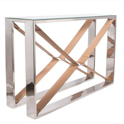 Tan Leather & Stainless Steel Glass Console Table