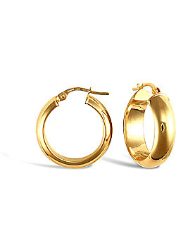 Jewelco London 9ct Yellow Gold d-shaped Wedding Band design hoop Earrings