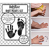 Baby Handprint Footprint Inkless Kit, White A4 Cards - Black Prints