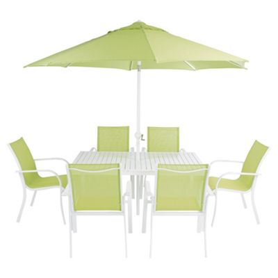 8 piece metal polyester garden furniture set lime - Garden Furniture 8 Piece