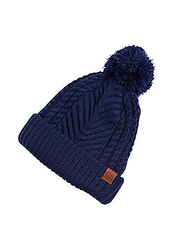 F&F Cable Knit Bobble Hat - Blue
