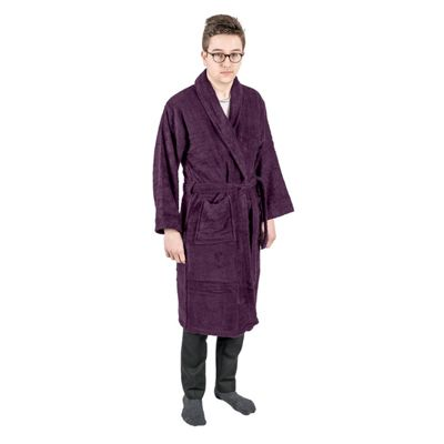 Homescapes Grape 100% Egyptian Cotton Terry Towelling Adults Shawl Collar Bathrobe, L/XL