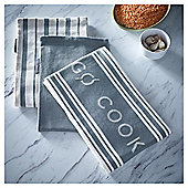 Go Cook Grey Jacquard Tea Towel 3pk