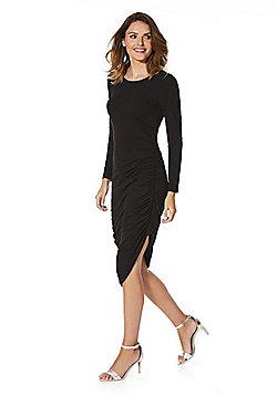 Noisy May Ruched Jersey Midi Dress - Black