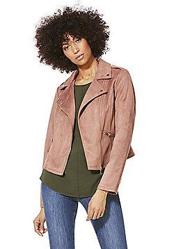 F&F Faux Suede Biker Jacket - Pink