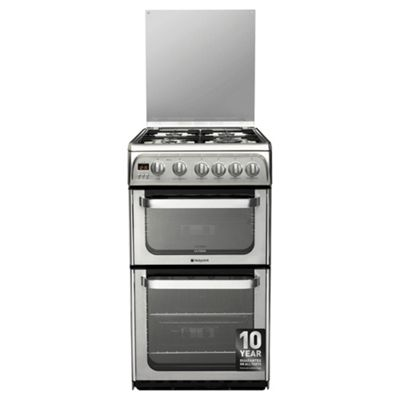Hotpoint Ultima Gas Cooker with Gas Grill and Gas Hob, HUG52X - Silver