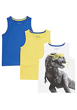 F&F 3 Pack of Dinosaur Print and Plain Vest Tops - Multi
