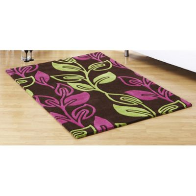 Ultimate Rug Co Floral Art Retro Flower Chocolate Contemporary Rug - 90cm x 150cm