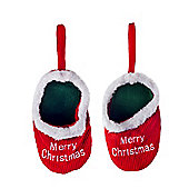 Pair of Red Hanging Slippers with 'Merry Christmas' Detail