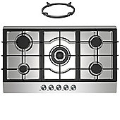 Cookology GH905SS | 90cm Built-in 5 Burner Gas Hob in Stainless Steel & Wok Stand
