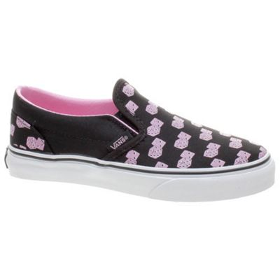 Vans Classic Slip On (Snake Eyes) Black/Prism Pink Kids Shoe EYB2G4