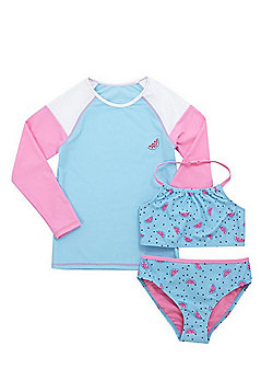 F&F Watermelon Sun Safe UPF50+ Rash Top and Bikini Set - Turquoise & Pink