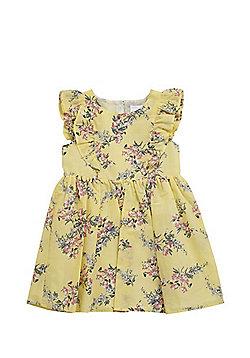 F&F Floral Print Frill Trim Dress - Lemon yellow