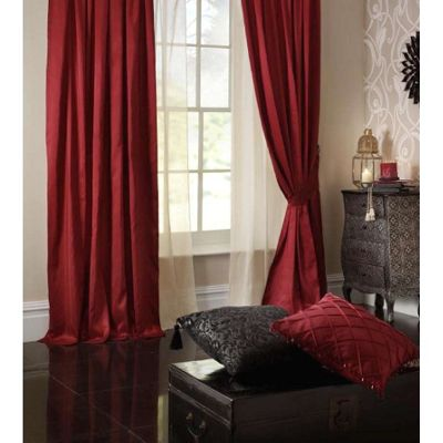 Catherine Lansfield Faux Silk Curtains 66x108 (168x274cm) - Ruby
