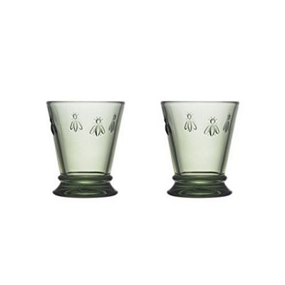 La Rochere Bee Goblet Tumbler Glass in Green Set of 2