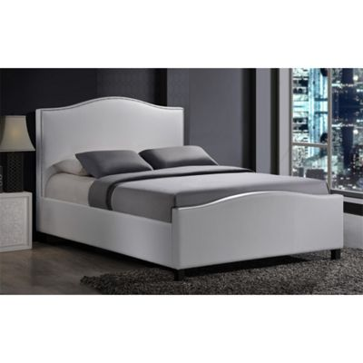 Chrome Studded White Fabric Bed Frame - Double 4ft 6