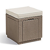 Allibert Cube Storage Table & Cushion - Cappuccino