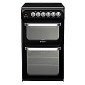 Hotpoint Ultima Electric Cooker with Electric Grill and Ceramic Hob, HUE52K S.0 - Black