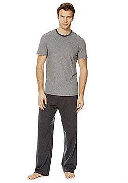 F&F Striped Top Marl Loungewear Set - Grey marl