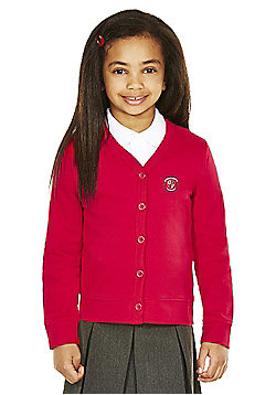 Girls Embroidered Cotton Blend School Sweatshirt Cardigan with As New Technology - Red