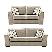 Boston 2.5 Seater + 3 Seater Sofa Set, Taupe