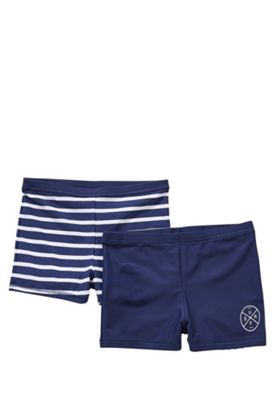 F&F 2 Pack of Plain and Striped Swimming Trunks Navy 5-6 years