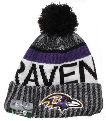 New Era Cap Co NFL Sideline Bobble Knit 2017 Beanie - Baltimore Ravens