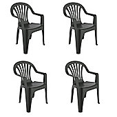 Resol Pals Plastic Home Garden Dining Armchair - Grey - Pack of 4