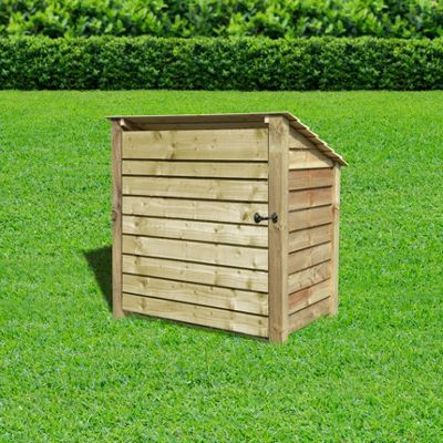 Greetham wooden reverse roof log store with doors - 4ft