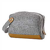 Zone Denmark Craft Mens Felt and Leather Toiletry Bag in Light Grey