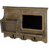 Wood And Rope - Wall Mounted Storage Hutch With Hooks - Brown