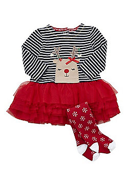 F&F Reindeer Tutu Christmas Dress and Tights Set - Red