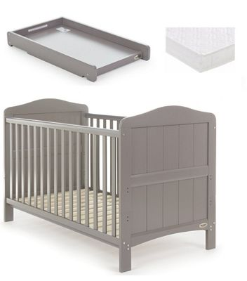 Obaby Whitby Cot Bed/Mattress/Cot Top Changer - Taupe Grey