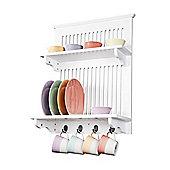 Aston Kitchen Plate Rack - White - wall mounted