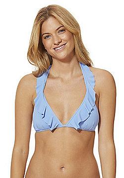 F&F Ruffle Trim Padded Triangle Bikini Top - Cornflower blue