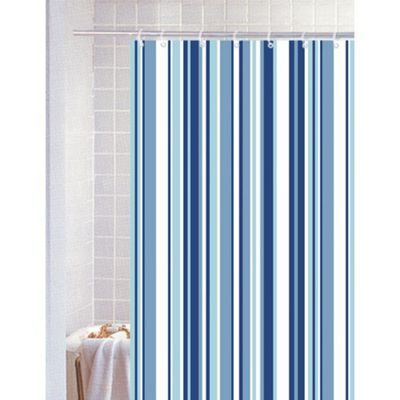 Blue Canyon Stripe Polyester Shower Curtain