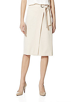 F&F Asymmetric Ring Belt Detail Pencil Skirt - Nude