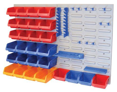 Faithfull Storage Bin Set with Wall Panels 43-Piece