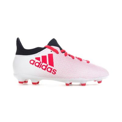 adidas X 17.3 FG Kids Football Soccer Boot White/Black/Red Cold Blooded - UK 5